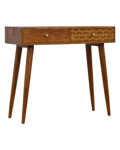 2 Drawer Chestnut Writing Desk With Gold Inlay Drawer Front