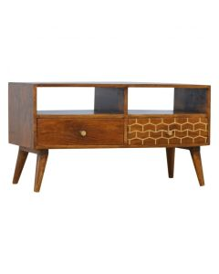 2 Drawer Chestnut Media Unit With Gold Inlay Drawer Front