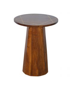 ArtHaus Collection Gold Brass Inlay Chestnut Round Wooden End Table