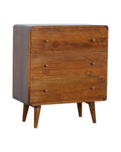 3 Drawer Curved Chestnut Chest Of Drawers