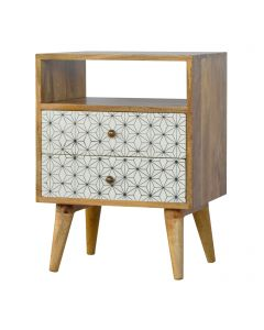 ArtHaus Collection Geometric Printed 2 Drawer Bedside With Open Slot
