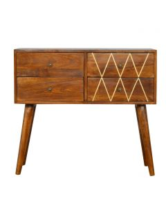 ArtHaus Collection Brass Inlay 4 Drawer Nordic Style Console Table
