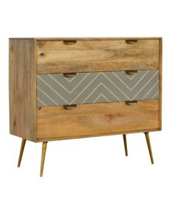 3 Drawer Nordic Style Sleek Cement Chest With Brass Inlay