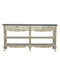 Hand Carved Electro-Plated Nickel Silver Console Table With Black Marble Top