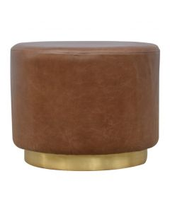 Round Brown Buffalo Leather Footstool With Gold Base