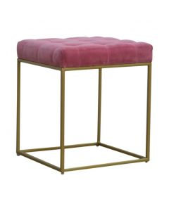 Pink Velvet Footstool With Deep Buttons And Gold Base