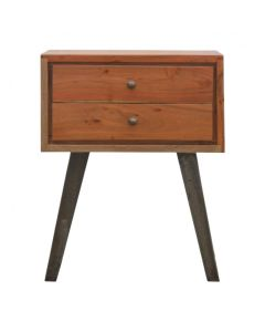 2 Drawer Chestnut Bedside With Industrial Feet