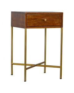 Chestnut End Table with Gold Criss-Cross Base