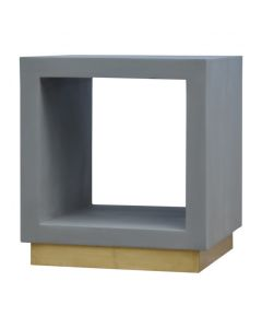 Cement Cube Bedside Table With Golden Base