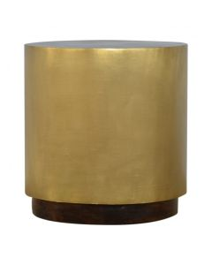 Sleek Gold End Table WIth Chunky Wooden Base
