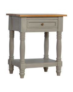 1 Drawer Grey Painted Bedside With Wooden Top