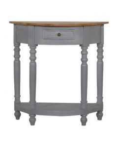 Grey Painted 1 Drawer Serpentine Table With Turned Legs