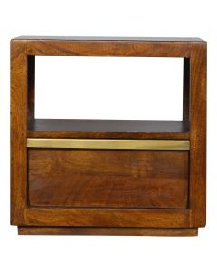 ArtHaus Collection Gold Brass Inlay Chestnut Drawer Bedside