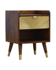 1 Drawer Chestnut Bedside With Gold Sunrise Pattern Drawer Front