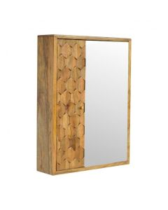 Pineapple Carved Sliding Wall Cabinet With Mirror