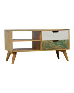 Nordic Style Media Unit With Foliage Leaf Print Drawer Front