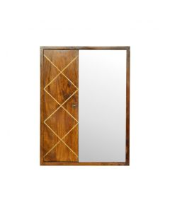 Brass Inlay Sliding Wall Cabinet With Mirror