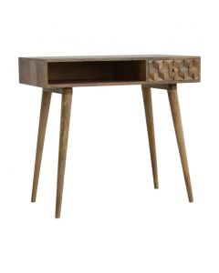 Cube Carved Writing Desk With Open Slots