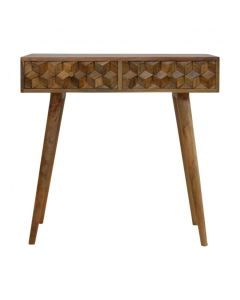 Cube Carved Console Table With 2 Drawers