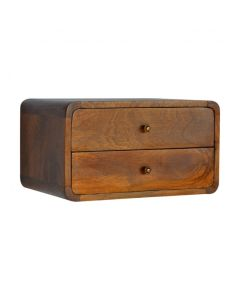 2 Drawer Curved Wall Mounted Chestnut Bedside