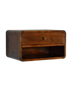 1 Drawer Curved Wall Mounted Chestnut Bedside