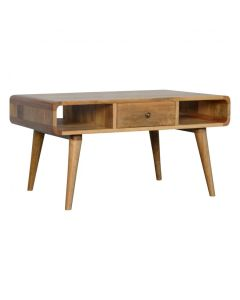 1 Drawer Curved Oak-Ish Coffee Table
