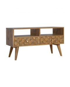 Diamond Carved Media Unit With 2 Drawers