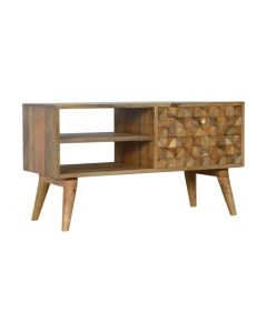 Diamond Carved Media Unit With 2 Open Slot