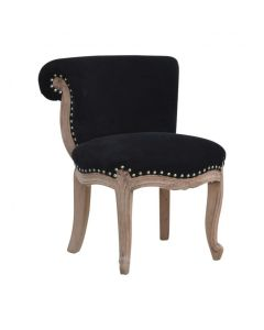 Black Velvet Studded Chair With Cabriole Legs