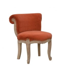 Brick Red Velvet Studded Chair With Cabriole Legs