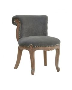 Grey Velvet Studded Chair With Cabriole Legs