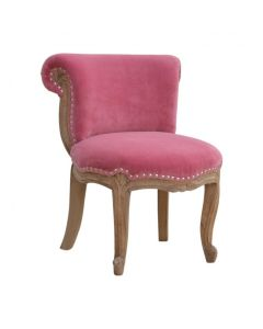 Pink Velvet Studded Chair With Cabriole Legs