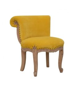 Mustard Velvet Studded Chair With Cabriole Legs