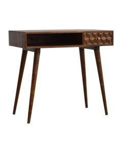 Chestnut Cube Carved Writing Desk With Open Slot