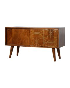 Gold Inlay Abstract Low Sideboard in Chestnut-effect Solid Mango Wood at Price Crash Furniture. Matching items also available.