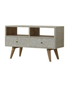 Taupe Floral Bone Inlay Media Unit in Light Taupe at Price Crash Furniture. Matching items also available.