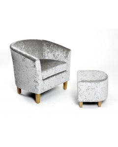 Silver Crushed Velvet Tub Chair Set