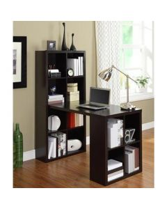 London Hobby Laptop Desk with Shelving Unit in Espresso by Dorel