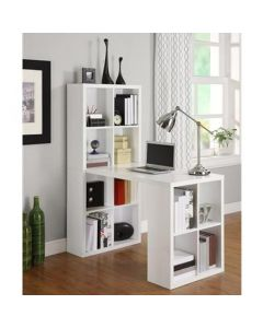 London Hobby Laptop Desk with Shelving Unit in White by Dorel