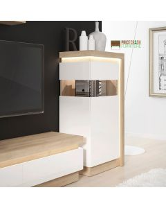 Lyon Narrow Display Cabinet (LHD) 123.6cm High (Including LED Lighting) In Riviera Oak/White High Gloss