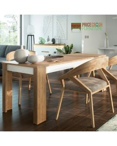 Lyon Large Extending Dining Table 160/200 cm In Riviera Oak/White High Gloss