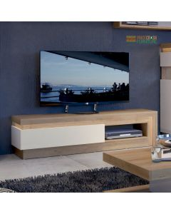 Lyon 1 Drawer TV Cabinet With Open Shelf (Including LED Lighting) In Riviera Oak/White High Gloss