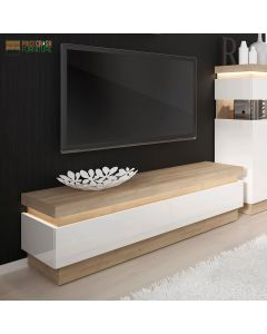 Lyon 2 Drawer TV Cabinet (Including LED Lighting) In Riviera Oak/White High Gloss