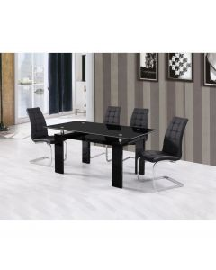 Metro 160 cm Black Glass and Black Gloss Dining Table
