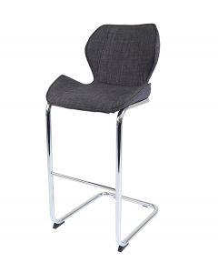 Milano Fabric and Chrome Breakfast Bar Stool Charcoal