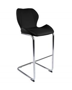 Milano Faux Leather and Chrome Breakfast Bar Stool Black
