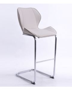 Milano Faux Leather and Chrome Breakfast Bar Stool Mink Grey