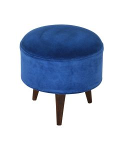 Velvet Nordic Style Footstool in Royal Blue at Price Crash Furniture