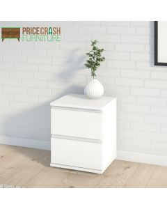 Nova Bedside 2 Drawer in White at Price Crash Furniture. Matching furniture items available.