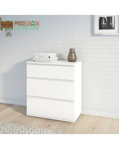 Nova Chest of 3 Drawers in White at Price Crash Furniture. Matching furniture items available.